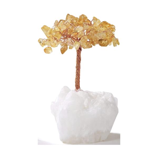 Closeup photo of Citrine Beaded Tree Of Life With Crystal Quartz Base