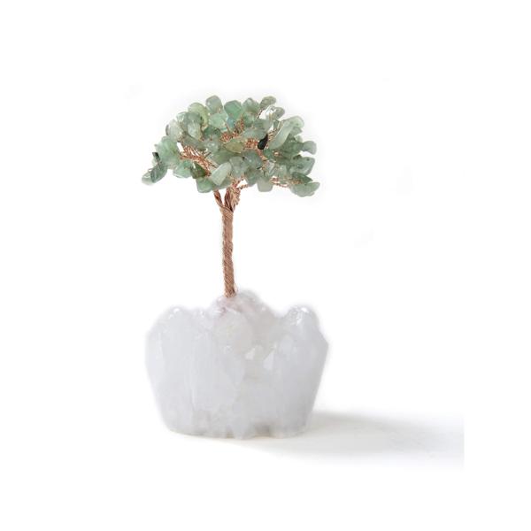 Closeup photo of Aventurine Beaded Tree Of Life With Crystal Quartz Base