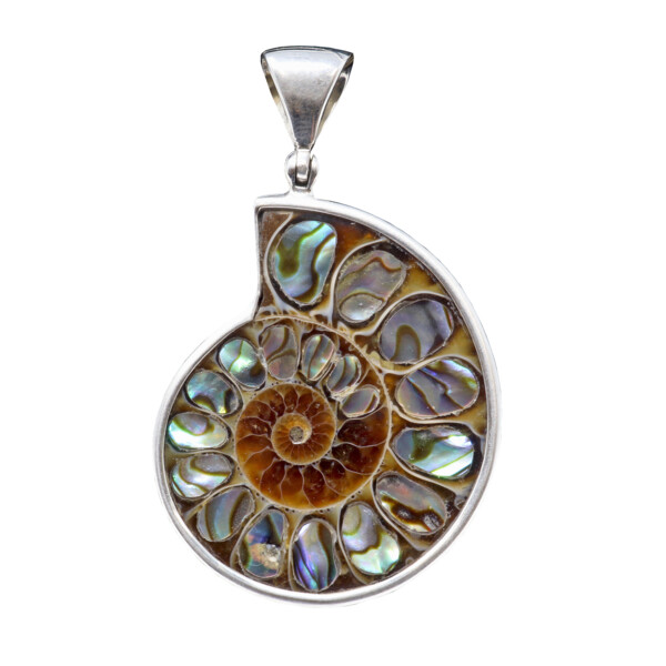 Closeup photo of Ammonite Fossil Pendant With Abalone Shell Inlay With Silver Bezel