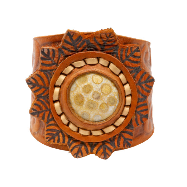 Closeup photo of Fossilized Coral Leather Bracelet - Round Cab W. Leather Leaf Details On Flower Stamped Leather Band