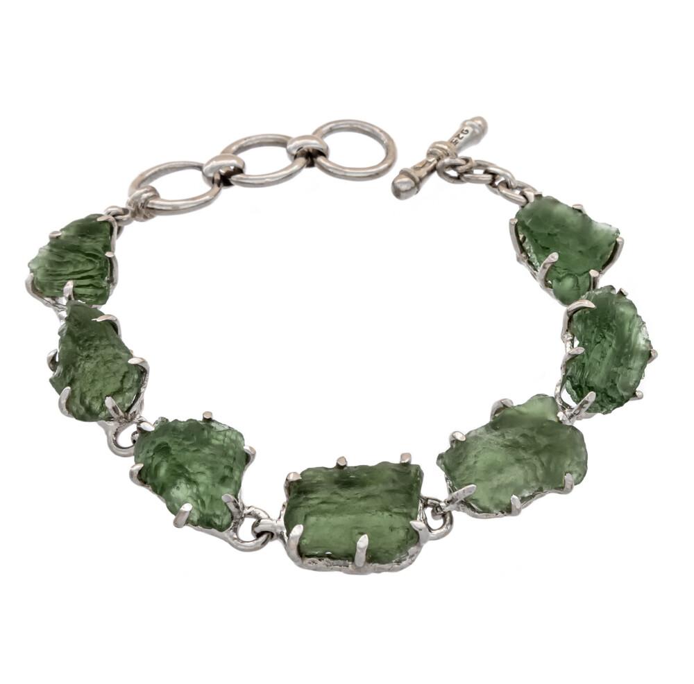 Moldavite Rough Link Bracelet - Prong Set W. Hammered Silver Bezel & Toggle Clasp Rhodium Plated