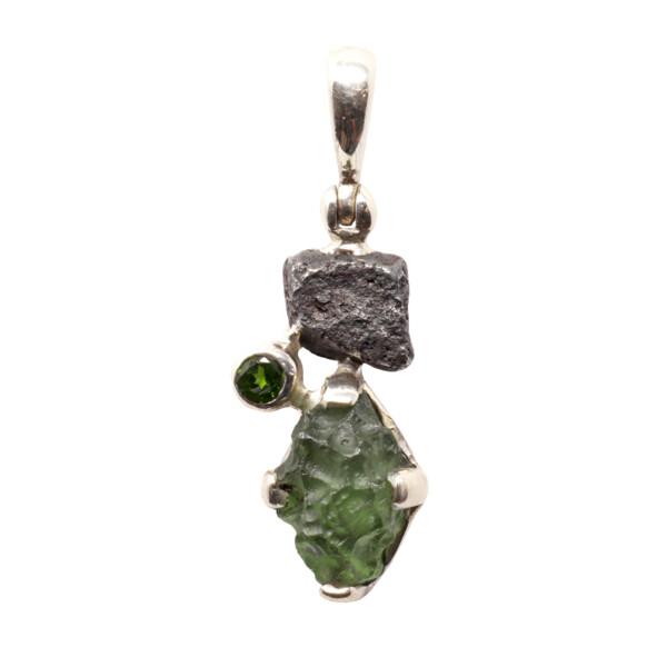 Closeup photo of Moldavite Pendant - Roughs Prong Set with Chrome Diopside Round & Agoudal Iron Meteorite Nugget