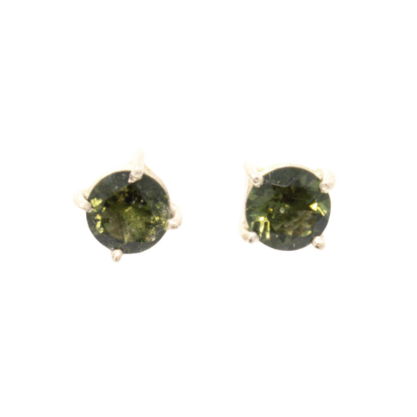 Closeup photo of Moldavite Stud Earrings - Simple Prong Set Faceted Rounds