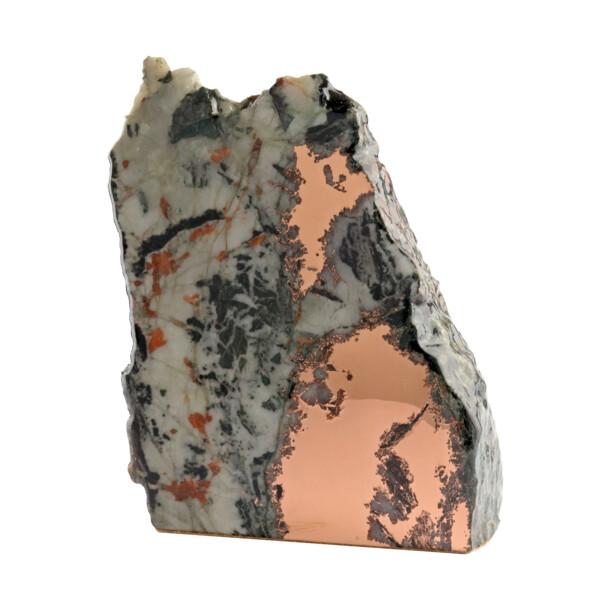 Closeup photo of Michigan Copper Vein In Quartz Cut Base Specimen