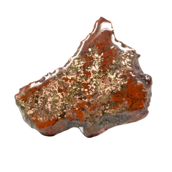 Closeup photo of Michigan Copper Vein Slice With Quartz On 3 Prong Acrylic Stand - Small Singles