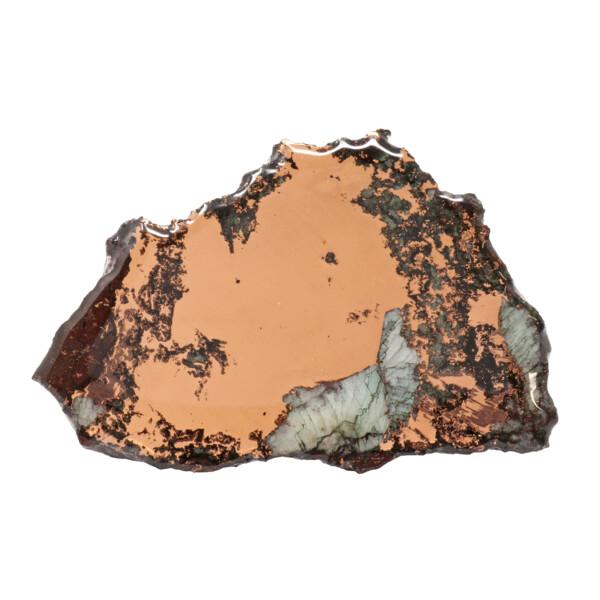 Closeup photo of Michigan Copper Vein Slice With Quartz On 3 Prong Acrylic Stand - Medium Singles