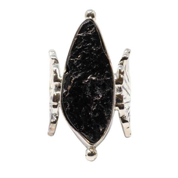 Closeup photo of Shungite Ring - Rough Freeform With Tall Silver Bezel & Beading With Ornate Textured Flower Band Sz7