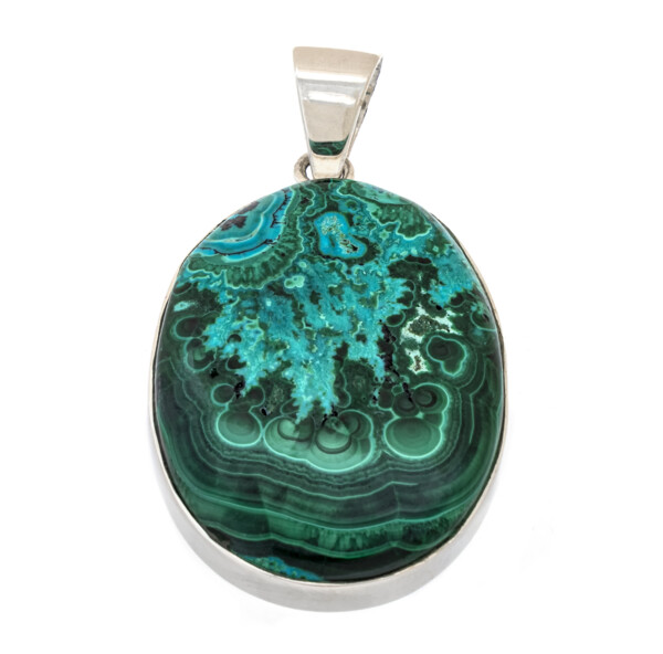 Closeup photo of Chrysocolla Malachite Pendant - Simple Oval Cabochon With Silver Bezel - Captivating Abstract Patterning