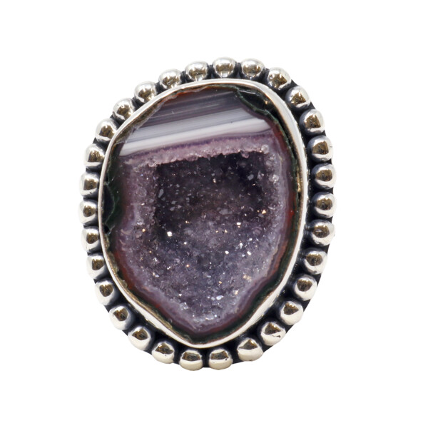 Closeup photo of Druze Geode Ring - Freeform Geode With Tall Silver Bezel & Beaded Edge - Pastel Purple & Gray With White Inclusions Sz9