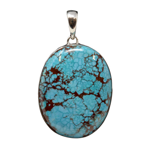 Closeup photo of Turquoise Pendant - Oval Cabochon With Silver Bezel