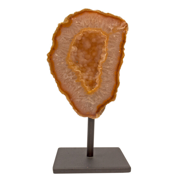 Closeup photo of Druze Geode On Metal Post Stand -Carnelian Orange Edge With Agate Interior