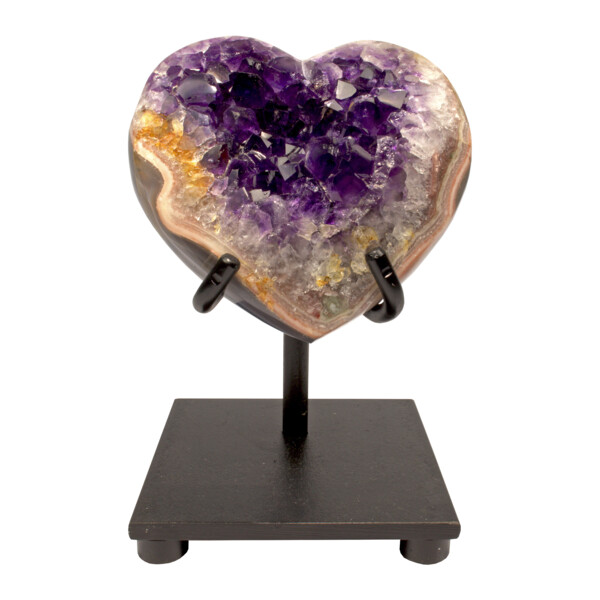 Closeup photo of Amethyst Crystal Heart On Custom Stand With Pocket On Side