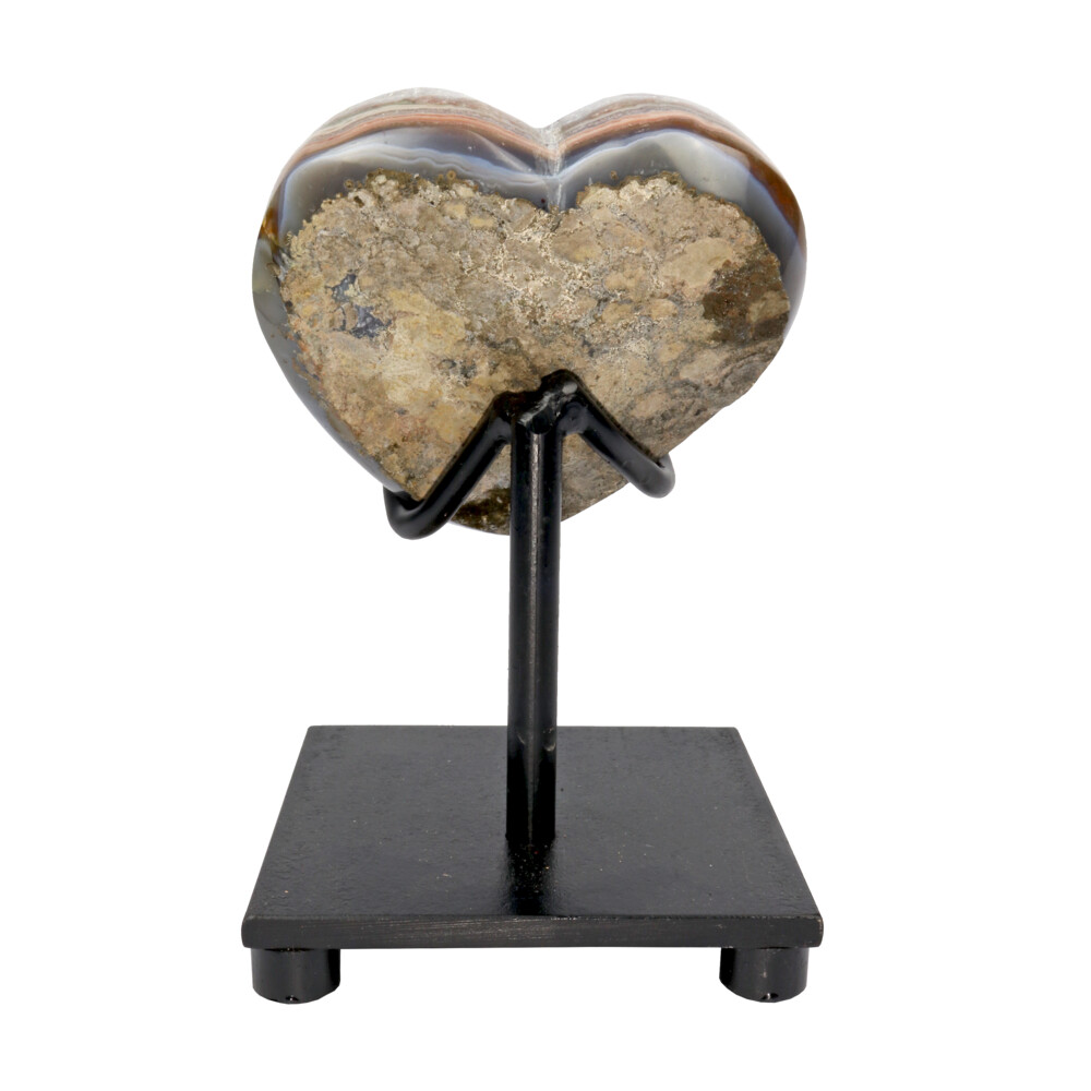Amethyst Crystal Heart On Custom Stand With Pocket On Side