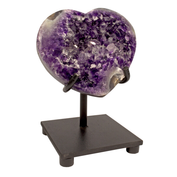 Closeup photo of Amethyst Crystal Heart On Custom Stand With Polished Back