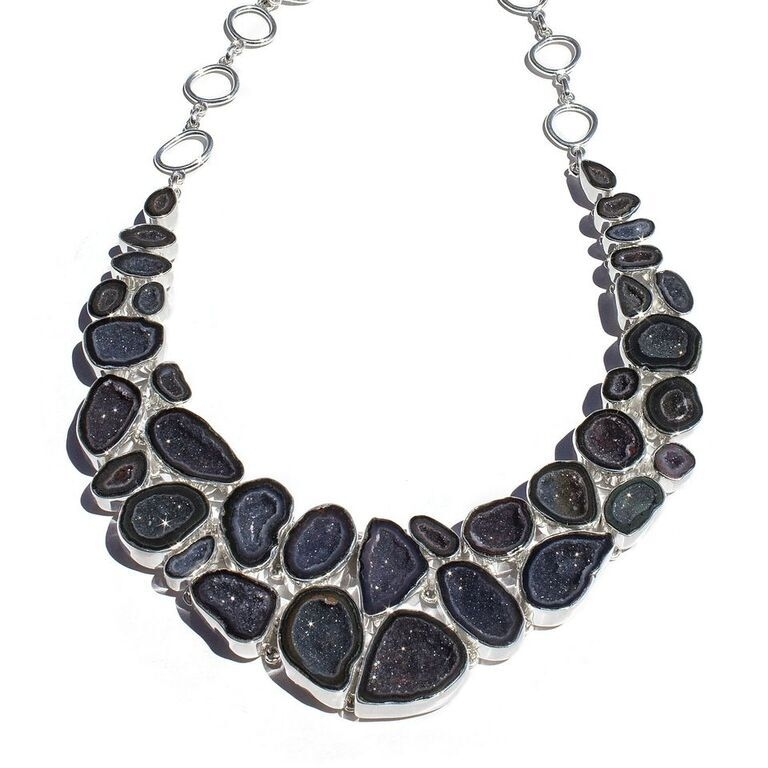 Elaborate Geode Necklace Set With Earrings