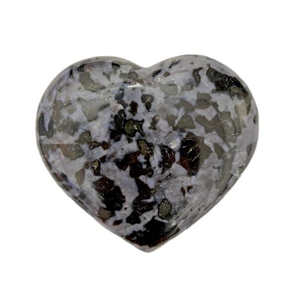 Closeup photo of Mystic Merlinite Indigo Gabbro Heart -Large