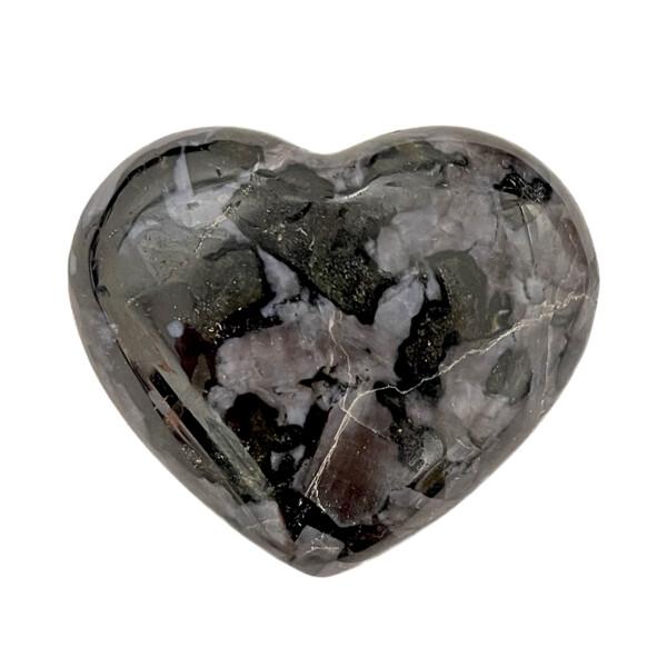 Closeup photo of Mystic Merlinite Indigo Gabbro Heart -Meduim