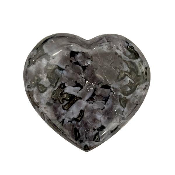 Closeup photo of Mystic Merlinite Indigo Gabbro Heart -Small
