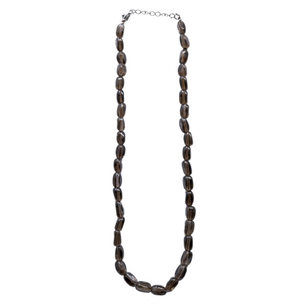 Closeup photo of Smoky Quartz Rectangle Tumbled Necklace