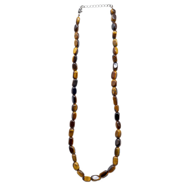 Closeup photo of Tigers Eye Rectangle Tumbled Necklace