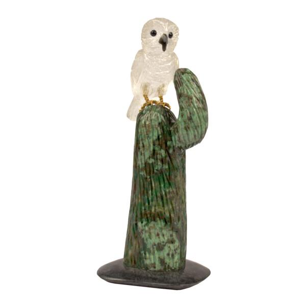 Closeup photo of Quartz Owl on Cactus Sculpture