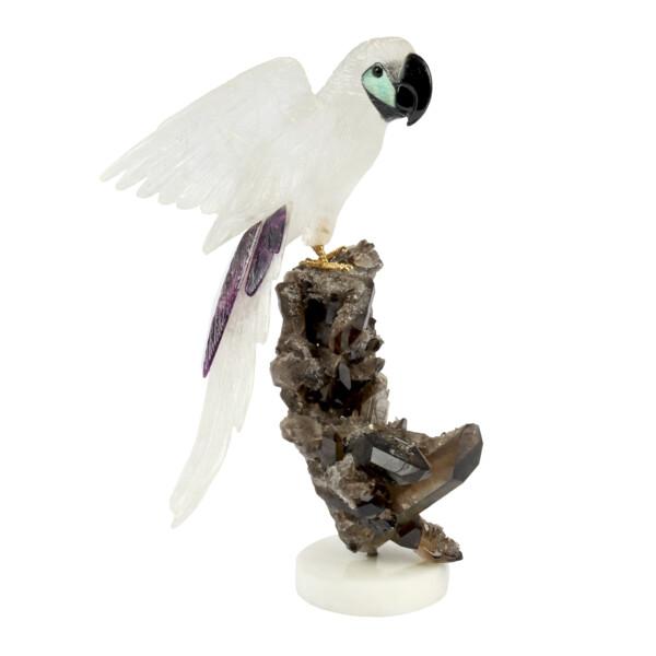 Closeup photo of Quartz Macaw on Smoky Quartz Crystal Cluster