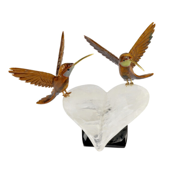Closeup photo of Double Tigers Eye Hummingbirds on Quartz Heart