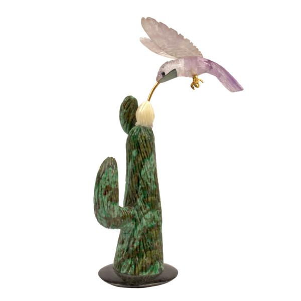 Closeup photo of Single Fluorite Hummingbird on Carved Cactus Sculpture