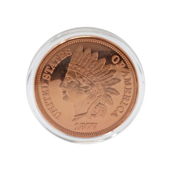 Closeup photo of .999 Pure 1oz Copper Coin Native Chief Head Penny