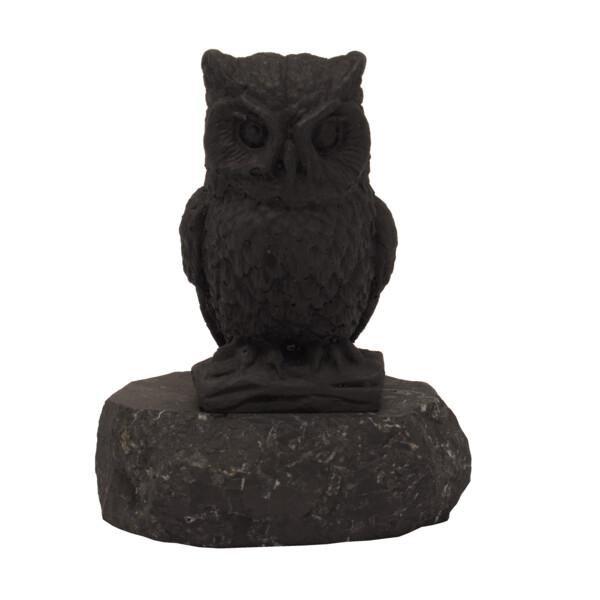 Closeup photo of Shungite Sculpture -Barn Owl