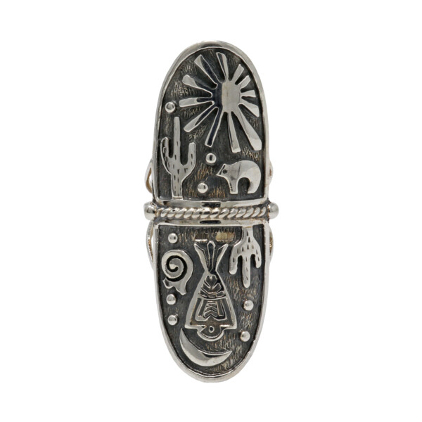 Closeup photo of Sterling Silver Ring - Night & Day Desert Landscape Scene With Native Tribal Eagle & Zuni Bear With Tri-band Top Sz7