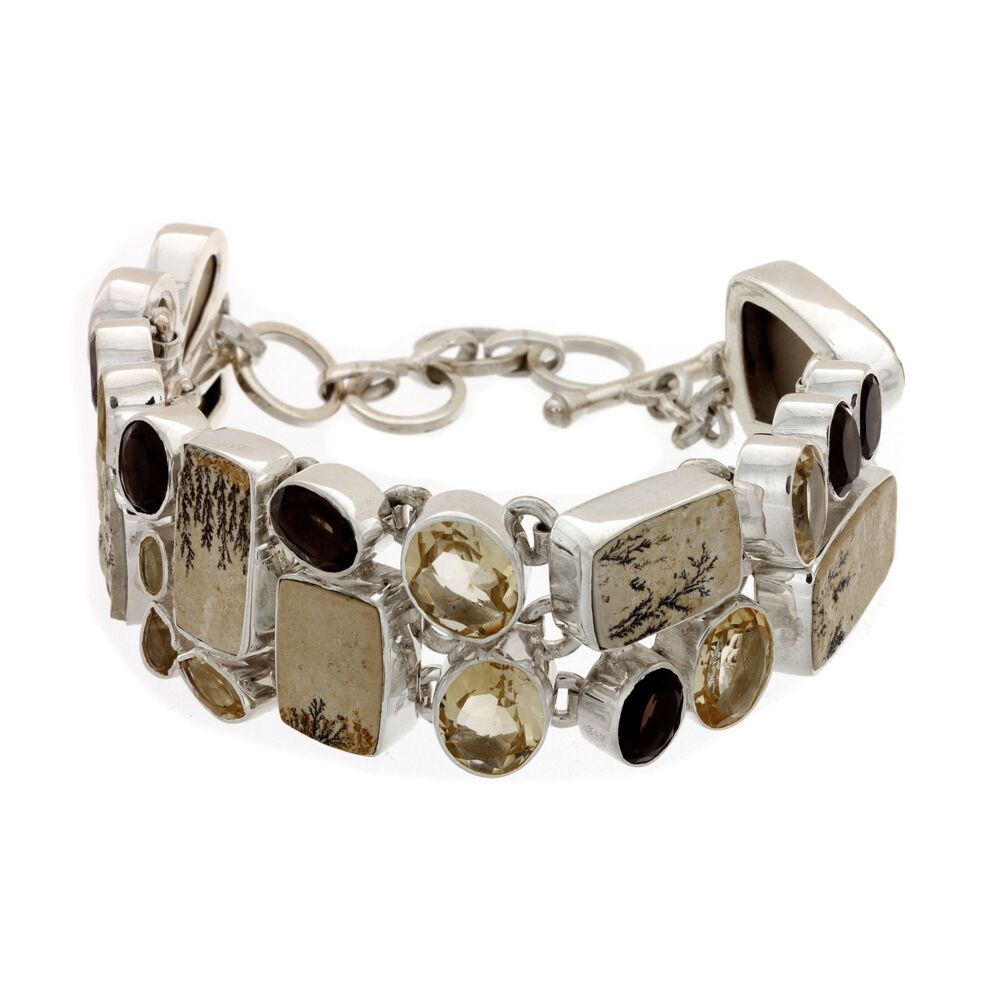 Dendritic Sandstone Bracelet With Citrine & Smoky Quartz