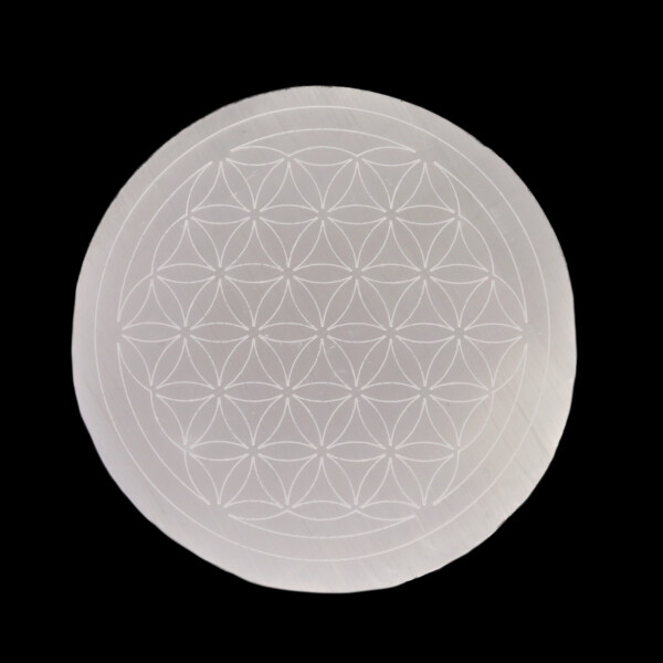 Closeup photo of Selenite Disc With Flower Of Life