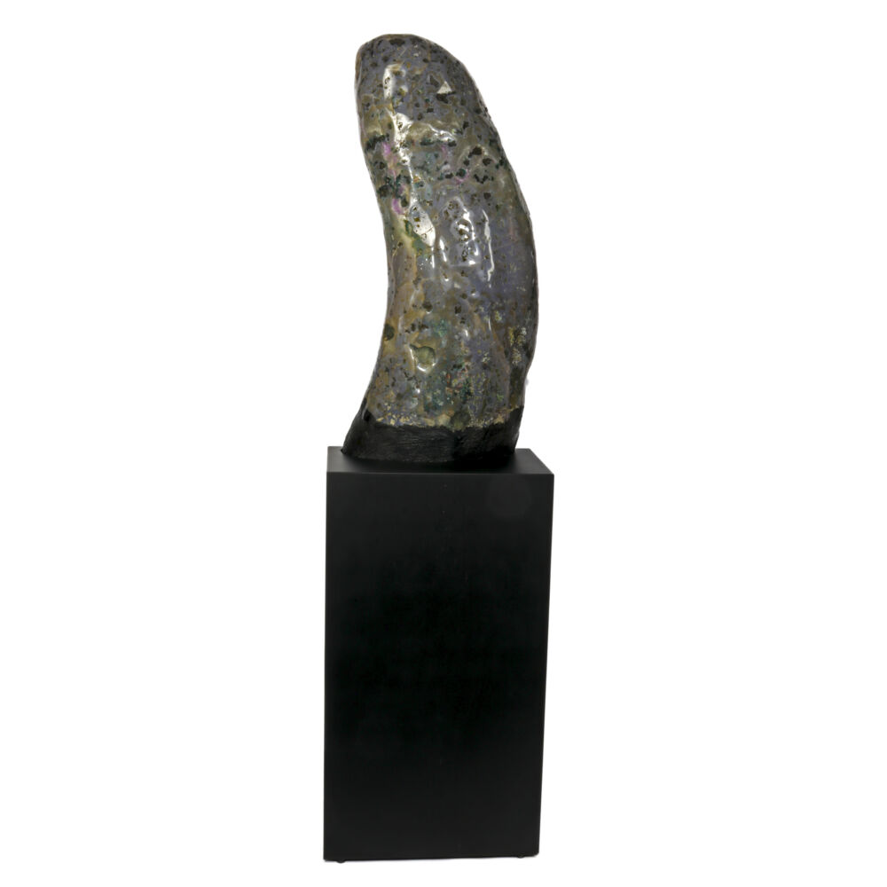 Amethyst Cathedral On Cut-out Pedestal -Fully Polished Curve To The Right