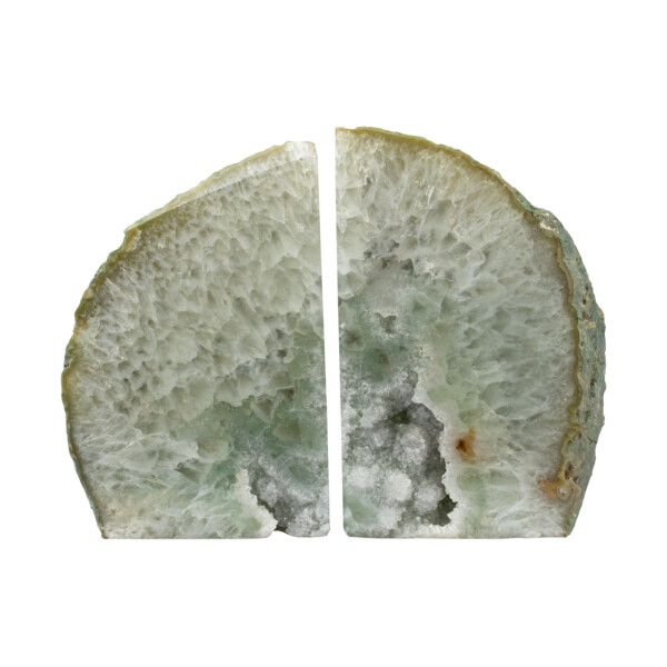 Closeup photo of Agate Geode Bookends - Green