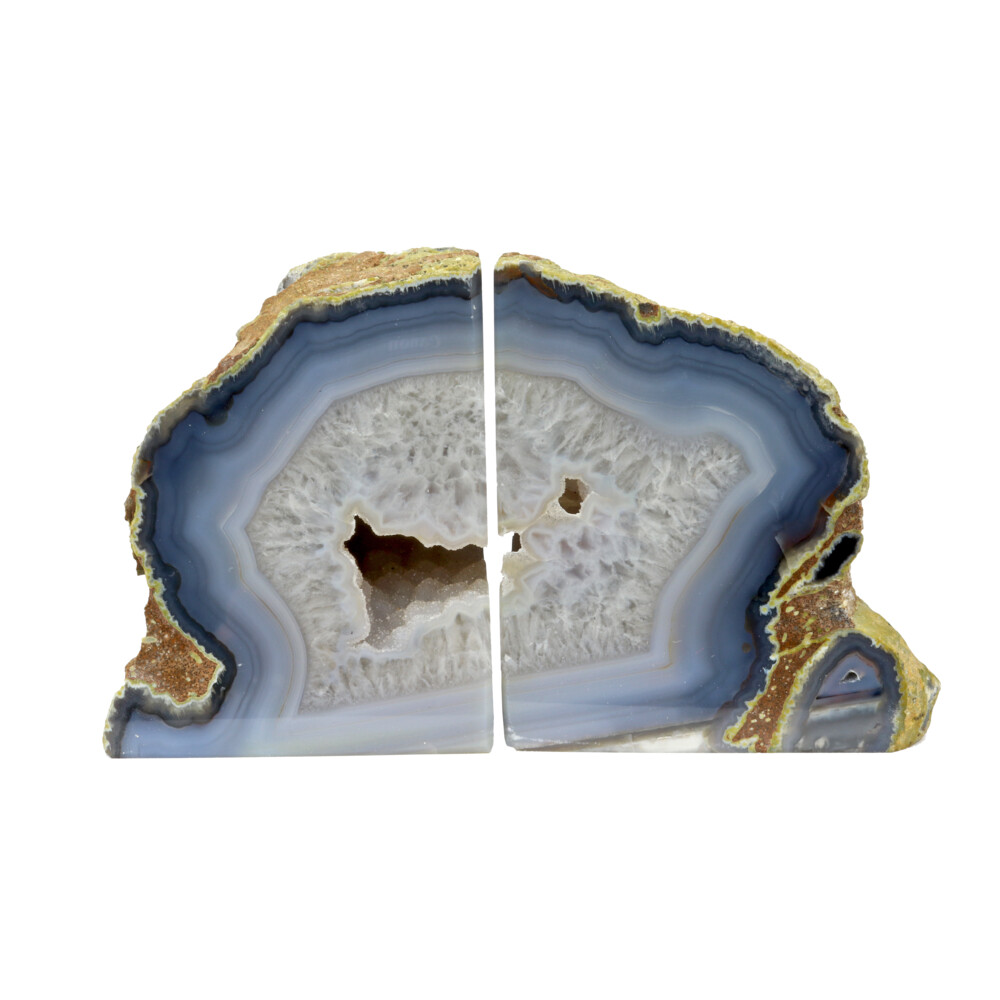 Agate Geode Bookends - Blue & Grey