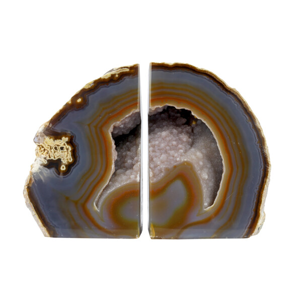 Closeup photo of Agate Geode Bookends - Brown & Grey