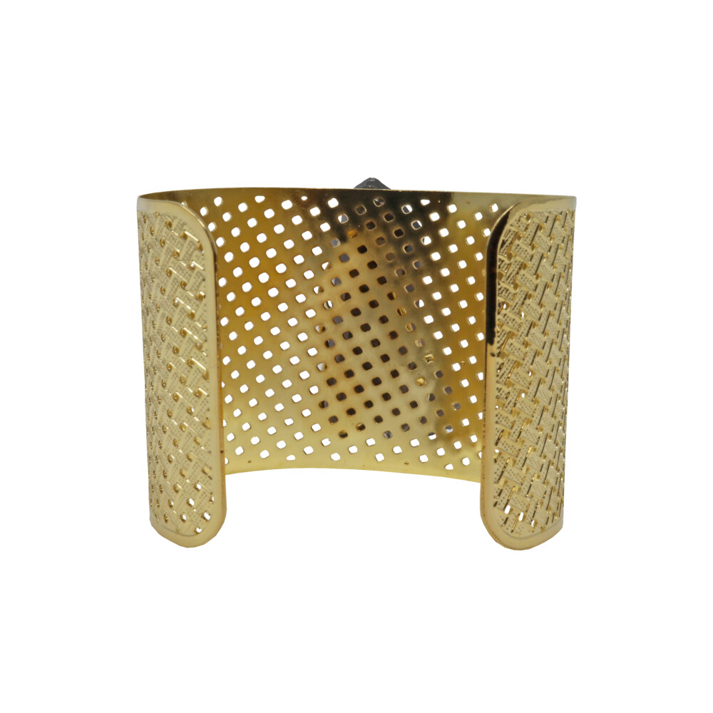 Smoky Quartz Cluster Cuff - Prong Set Gold Overlay Wide Band