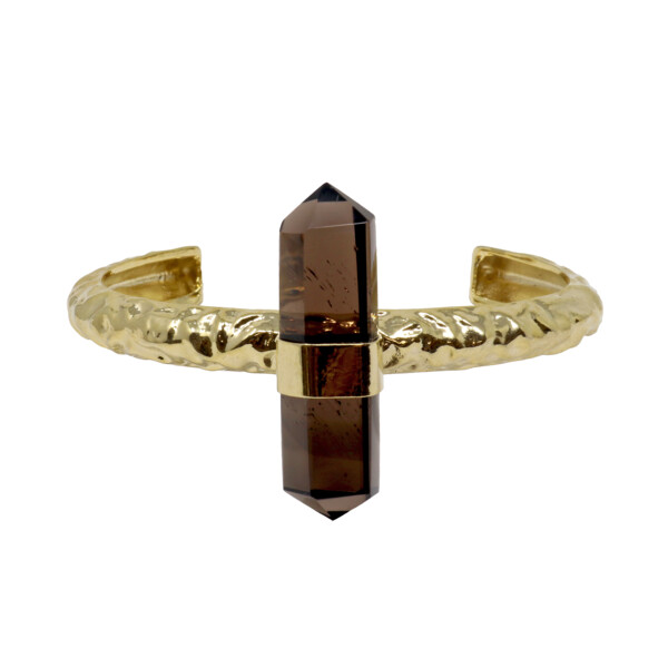 Closeup photo of Smoky Quartz Cuff - Double Point With Gold Overlay Band