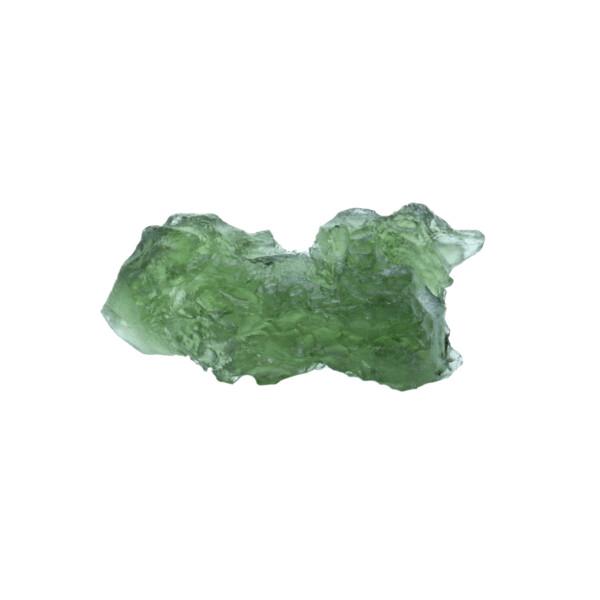Closeup photo of Moldavite Tektite Raw Nugget -Rugged in Gel Case
