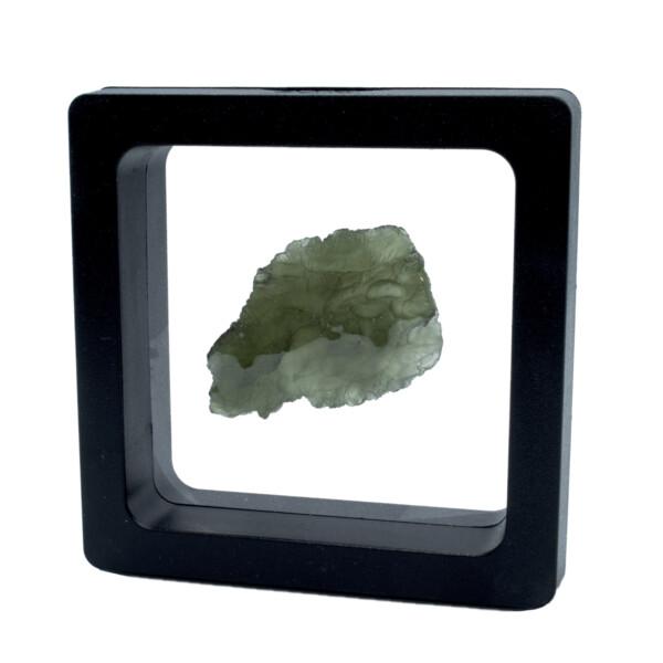 Closeup photo of Moldavite Tektite Raw Nugget -Rugged Flat in Gel Case