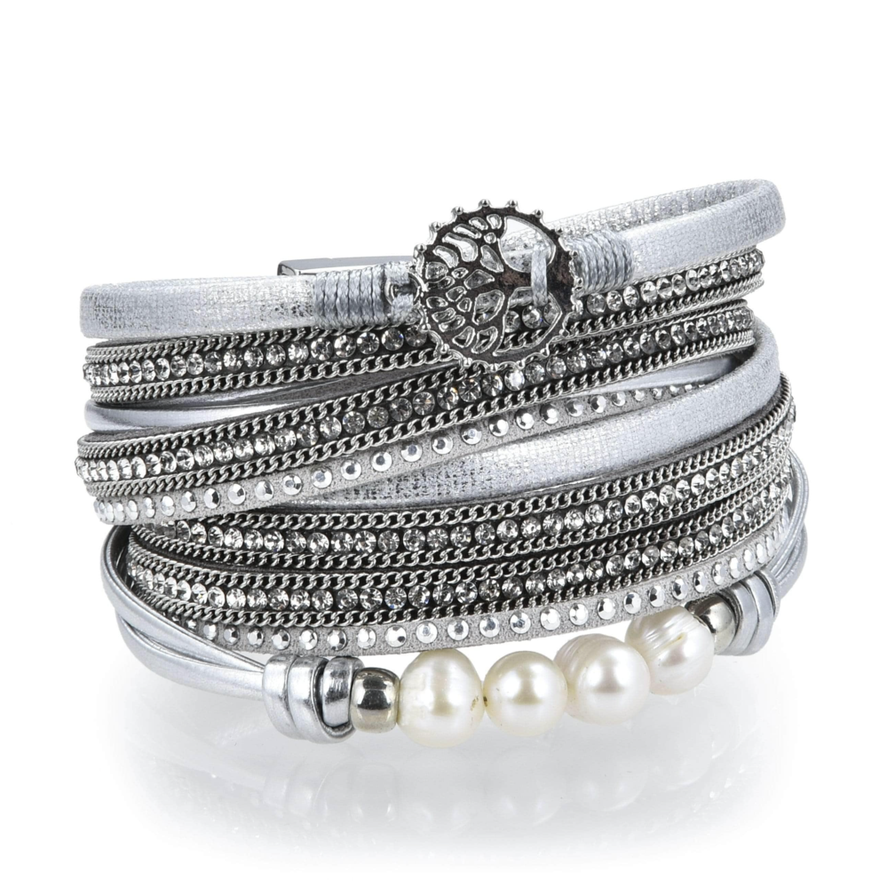 Tree Of Life Design Silver Leather & Pearls Double Wrap Bracelet With Magnetic Clasp
