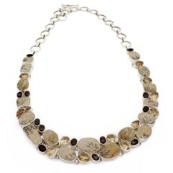 Closeup photo of Dendritic Sandstone Necklace Collar With Citrine & Smoky Quartz