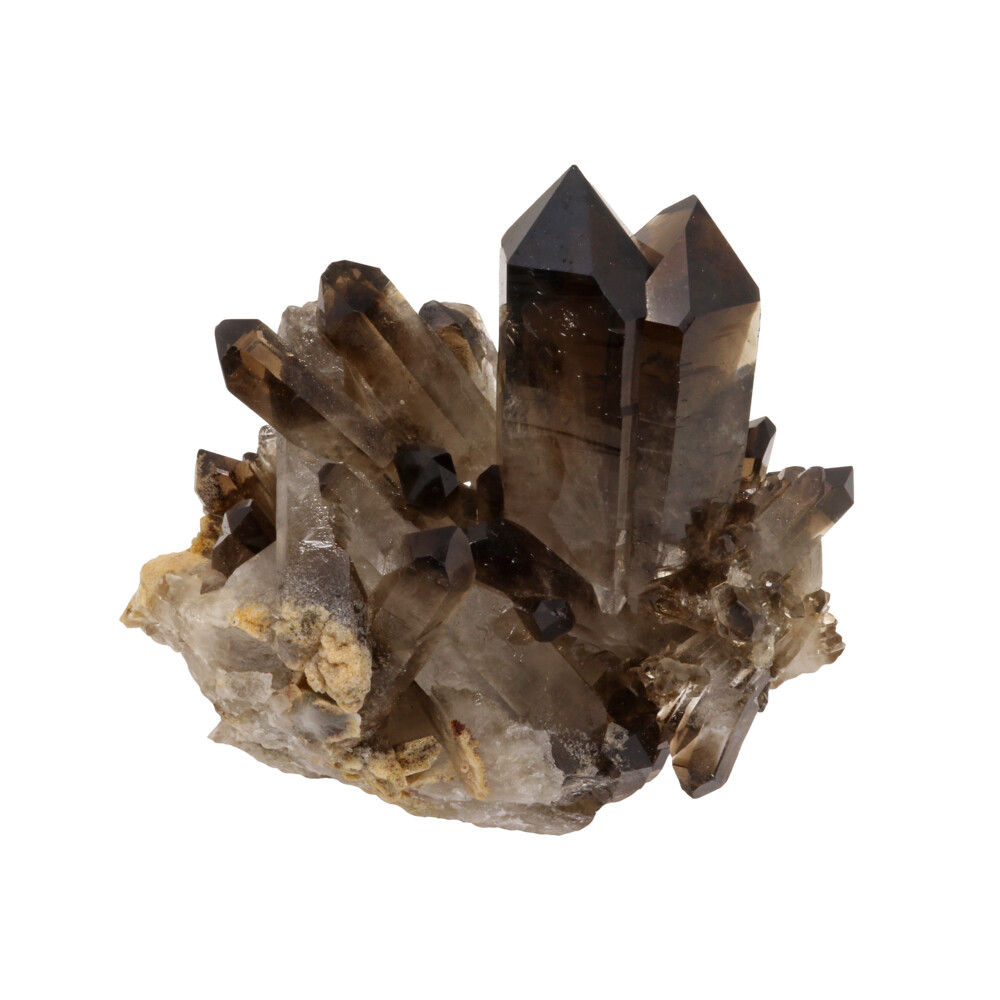 Smoky Quartz Cluster On Cluster Stand With Twin Point Feature