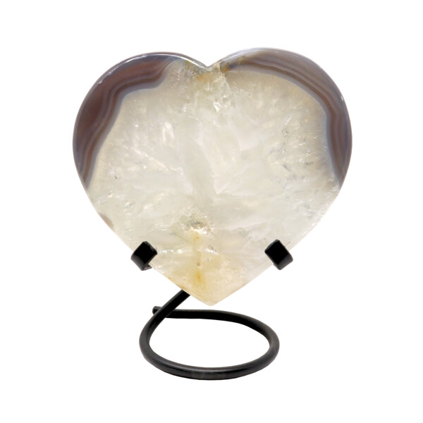 Closeup photo of Agate Quartz Heart On A Spiral Fitted Stand