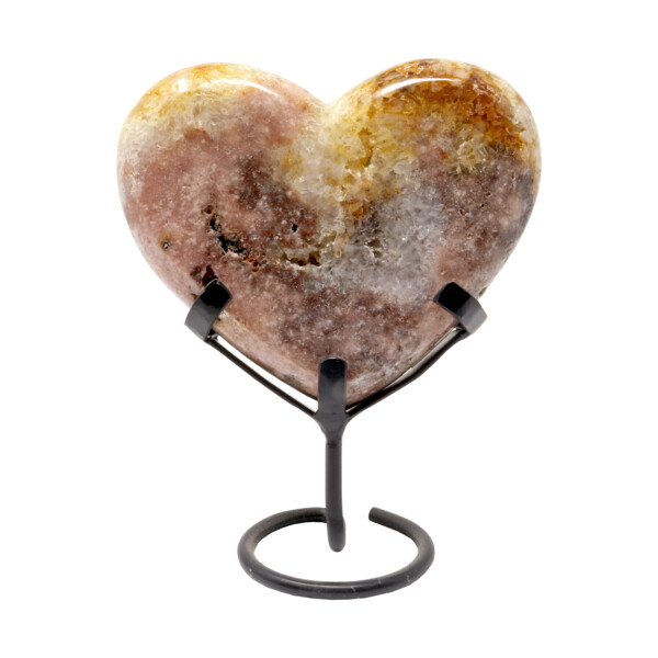 Closeup photo of Citrine Heart On A Spiral Fitted Stand -Polished