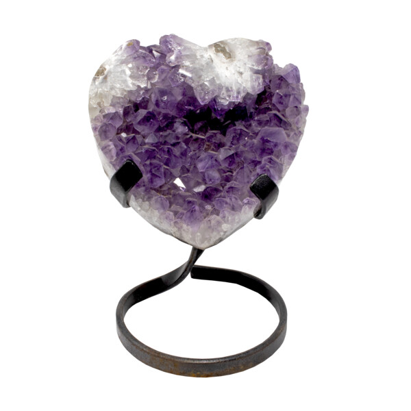 Closeup photo of Amethyst Crystal Heart On A Spiral Fitted Stand