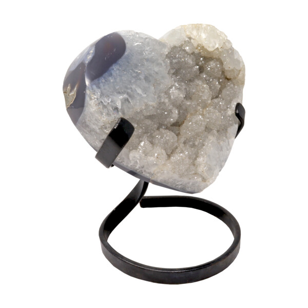 Closeup photo of Quartz Druze Heart On A Spiral Fitted Stand