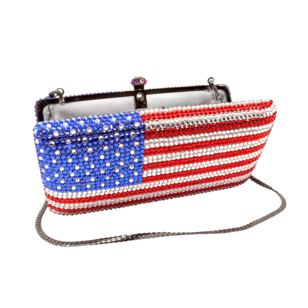 American Flag Jewel Purse With Chain
