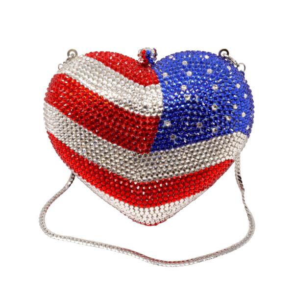 Closeup photo of American Flag Heart Jewel Purse With Chain